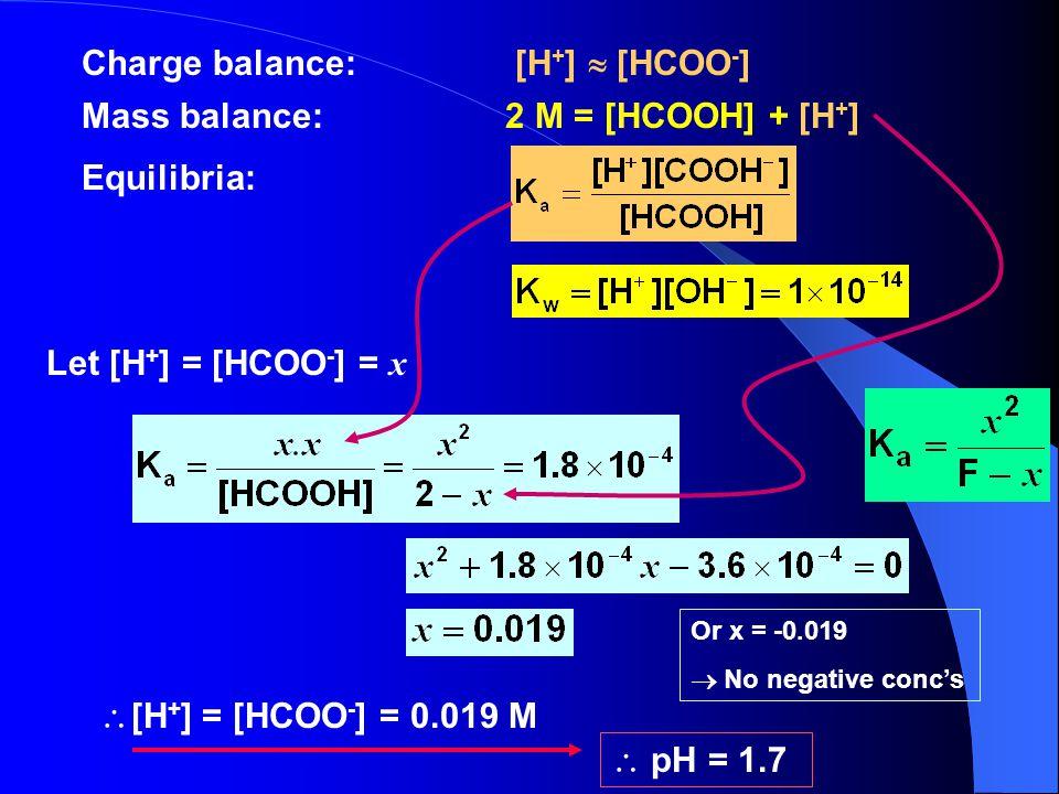 Charge balance: [H+]  [HCOO-]